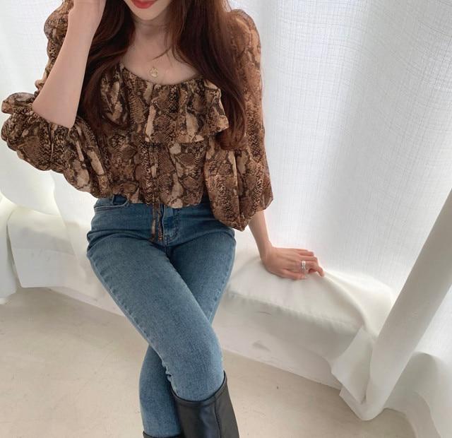 woherb sexy crop blouse Women Puff Sleeve snake print Elegant Lace Up summer thin blusas shirt 2021 korean Chic Female Shirts 6