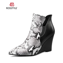 ROSSTYLE Fashion Woman Winter Ankle Boot Handmade Genuine Leather Pointed Toe Soft Wedges Shoes Vintage Slip-on Lady Basic Boots цена 2017