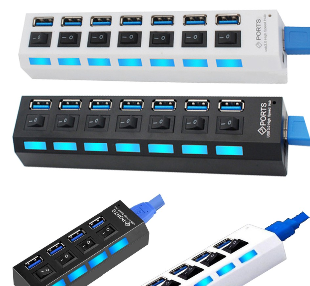 4 /7 Ports USB 2.0 USB 3.0 External Expansion Hub With Switch With Independent Switch