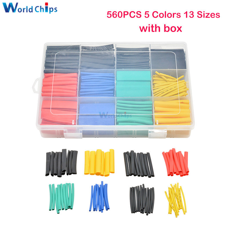 530/560/580pcs Heat Shrink Tubing Insulation Shrinkable Tube Electronic Polyolefin Wire Cable Sleeve Kit Heat Shrink Tube W/ Box