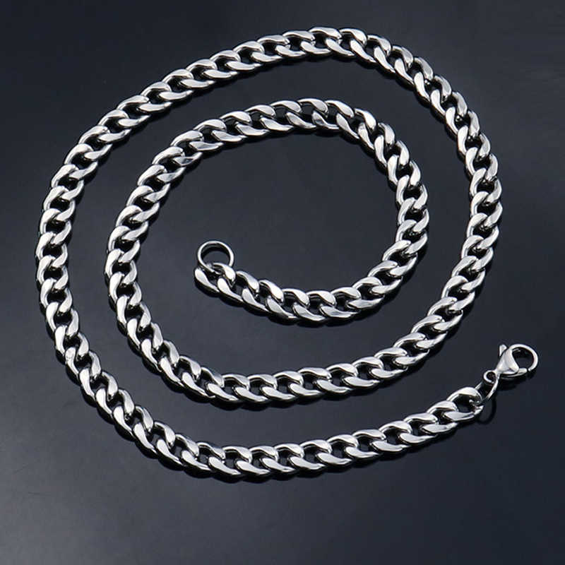 hip hop chain men women couple necklaces 4mm5mm7mm long Stainless Steel Chain Necklace Waterproof Men Link Curb Chains necklace