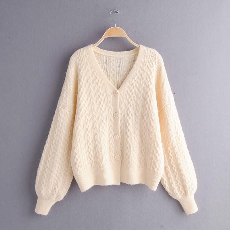 Retrieve Winter Women Solid Loose Sweaters Lantern Mouwen Lantern Long Mouw Used Jackets Casual Button V -neck Vests