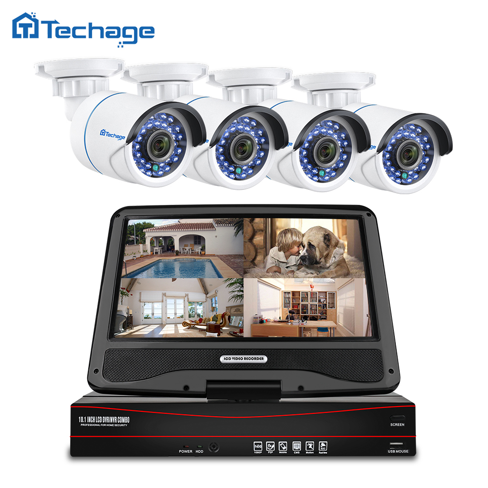 Techage 8CH 1080P LCD Screen-Monitor POE NVR Kit CCTV System 2MP HD Outdoor Sicherheit Audio IP Kamera P2P video Überwachung Set