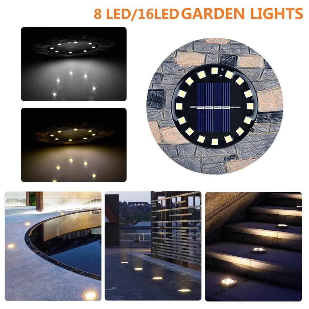 solar ground lights stone light 16 led garden sensor lights waterproof patio outdoor light for lawn pathway yard driveway