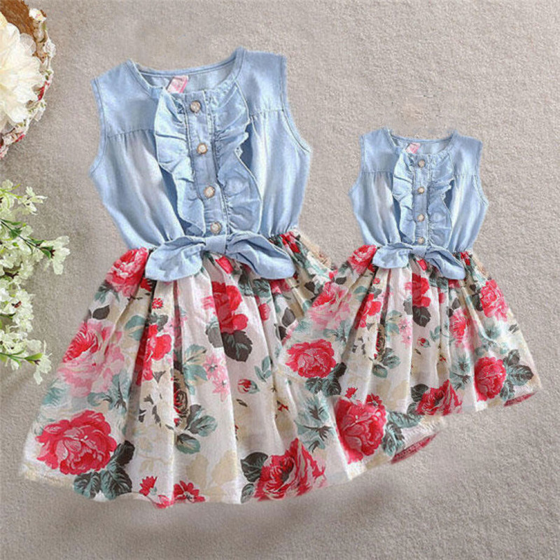 Summer Mother And Daughter Floral Printed Sleevless Dress Family Matching Women Kid Girls Casual Patchwork Denim Dresses Clothes