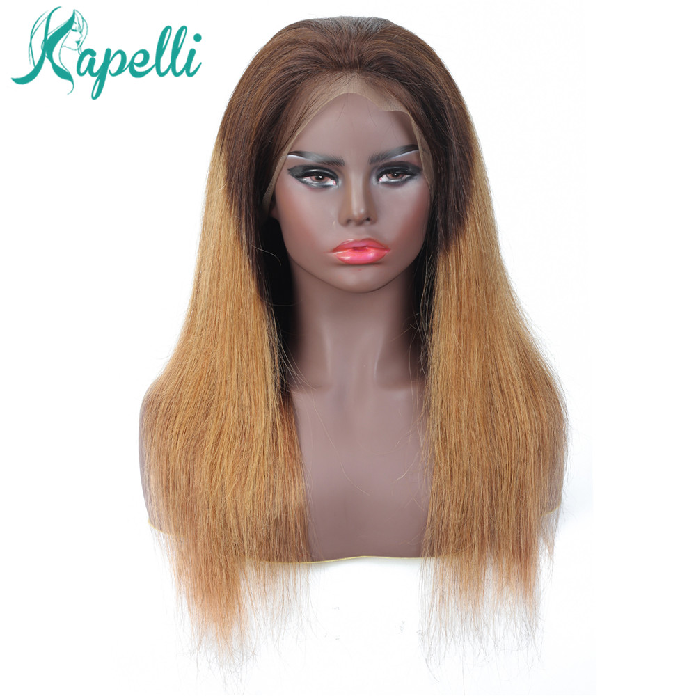 13x4 Lace Front Wig Ombre Lace Human Hair Wig NonRemy Hair Straight Honey Blonde Pre Plucke With Baby Hair Brazilian Hair Wigs