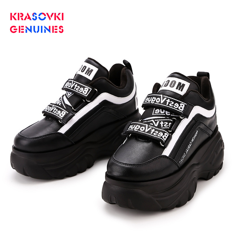 Krasovki Genuines Sneakers Women Winter Dropshipping Fashion Round Toe Increase Thick Bottom Mixed Colors Plush Women Shoes