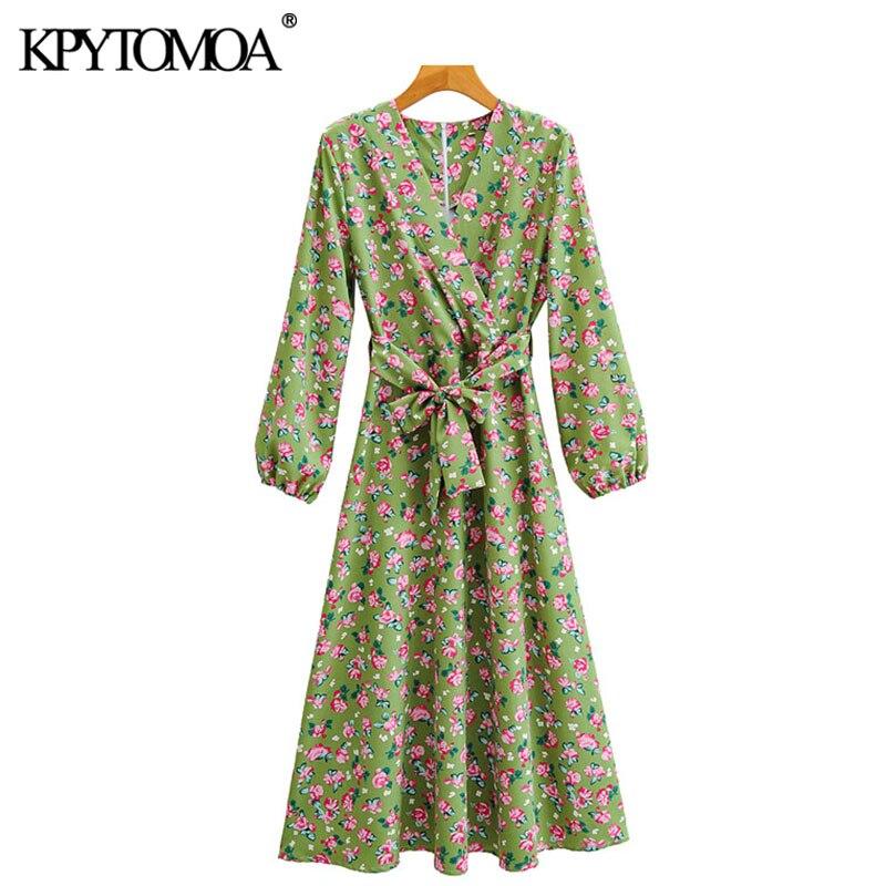 KPYTOMOA Women 2020 Chic Fashion With Sashes Floral Print Midi Dress Vintage Long Sleeve Back Zipper Female Dresses Vestidos