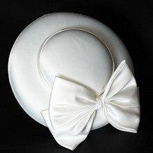 Accessories Elegant Ladies Bowler-Hat French-Style Retro Cotton Linen Bowknot-Decoration