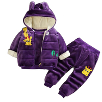 Baby warm clothes set toddler girls boys clothing cartoon plus velvet jacket coat fashion thick Infant baby kids winter set girl