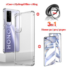 3-in-1 чехол,shockproof silicone case for honor 30 pro plus full cover Hydrogel Film Metal ring for honor 30 30s 30pro+ cases