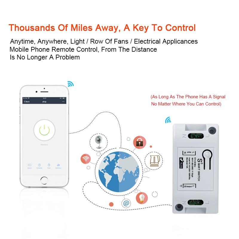 Ha968496ebbff4e03a6253a323528781bt - QIACHIP Smart Home Wifi Switch 10A 2200W 433Mhz Wireless RF Remote Control Switch For Alexa Google Home Timer Automation Module