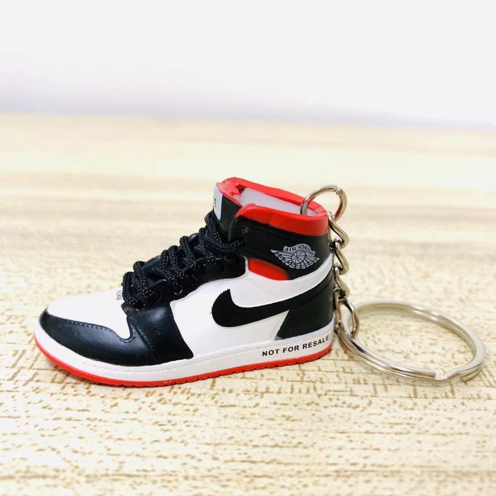 dropshipping aj1 Not for resale red sneaker keychain Air Jordan 1 3D Mini Sneaker Banned Sports shoe Sneaker keychains