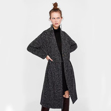 ZA Wool Tweed Coat 2019 Autumn Winter Women Mid-Long Style Casual Women's Popular Outerwear Woolen Coat Parka Party Wholesale(China)