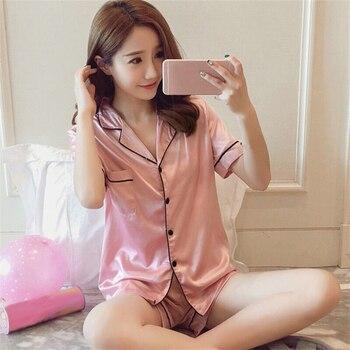 Short Sleeve Silk Pajamas Spring Women Summer Set Satin Pijama for Womens Pyjamas Nightwear Sleepwear