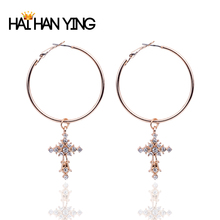 New womens gold cross earrings big round hoop for women Drop accessories jewelry fashion 2019  free shiping