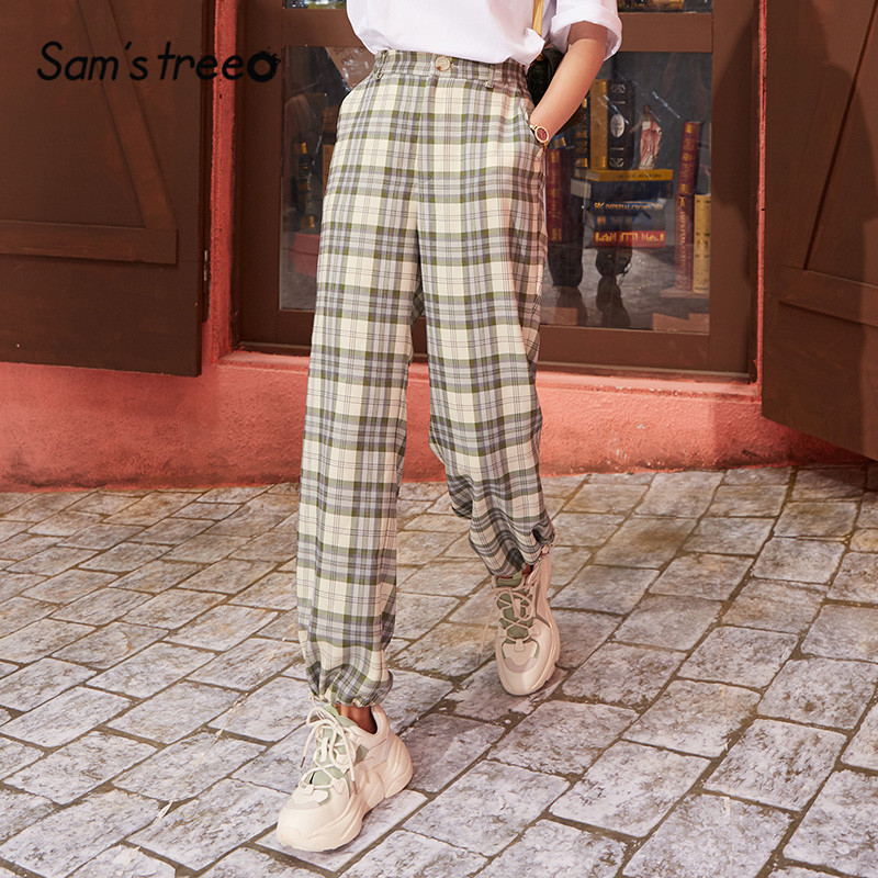 SAM'S TREE Green Plaid Straight Casual Women Pants 2020 Spring New Vintage Elastic Drawstring Korean Ladies Daily Trouser