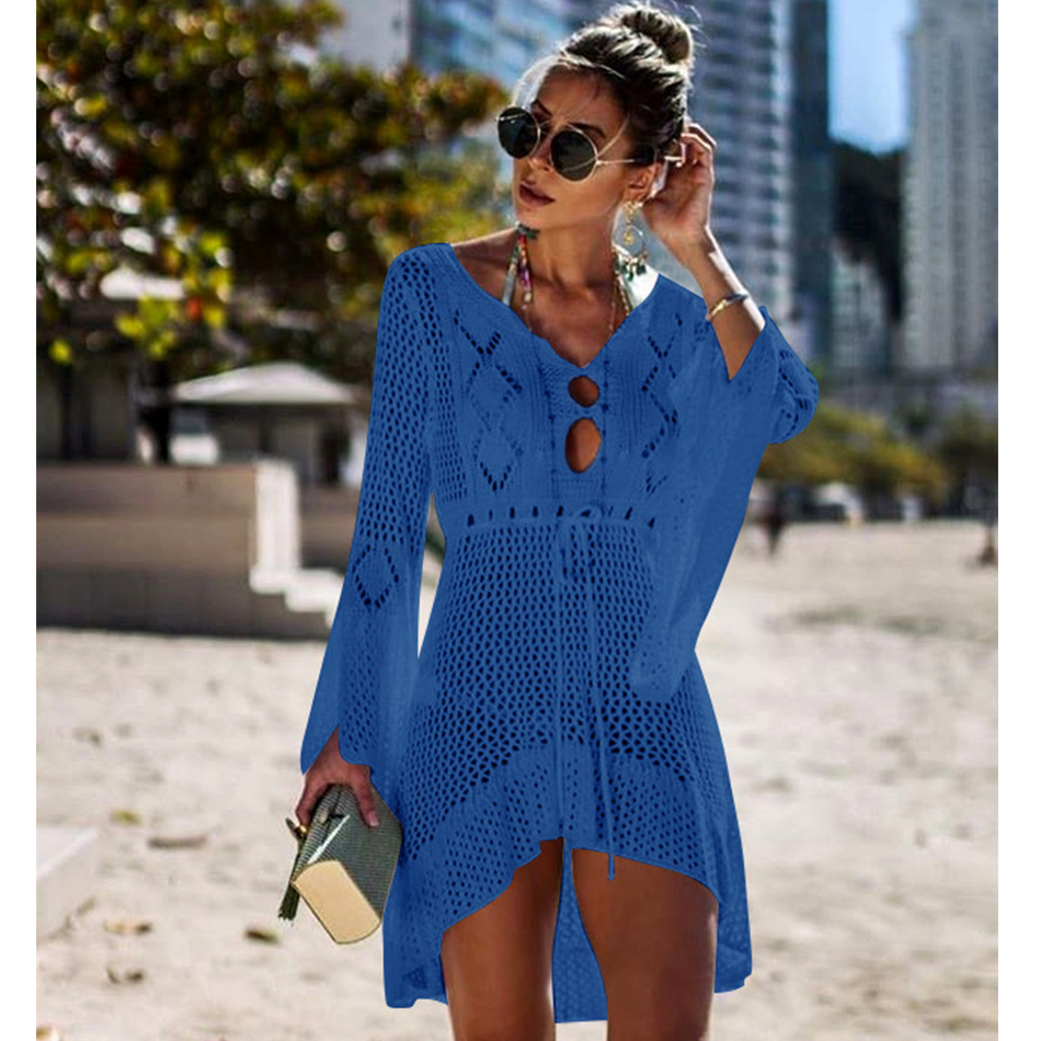 New Knitted Beach Cover Up Women Bikini Swimsuit Cover Up Hollow Out Beach Dress Tassel Tunics Bathing Suits Cover-Ups Beachwear 17
