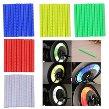 12Pcs Reflector Bicycle Wheel Rim Spoke Bike Mount Warning Light Strip Tube цена