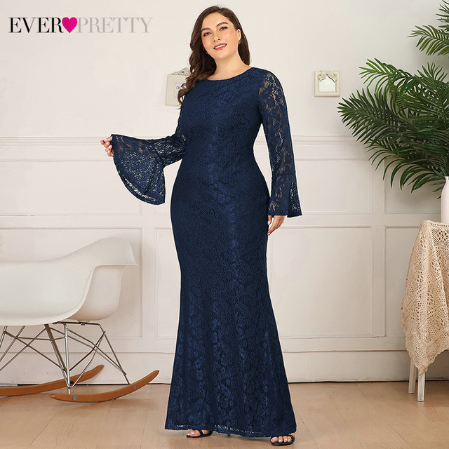 Plus Size Lace Evening Dresses Ever Pretty Mermaid Long Flare Sleeve O-Neck Ruffles Autumn Winter Long Party Gowns Abendkleider 2