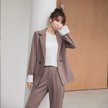 2019 Autumn Winter OL Women Trousers Suit long Sleeve Blazer Casual Pants Suit Jacket Coat Loose Office Lady 2 Piece Set(China)