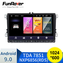 Funrover Android 9.0 DSP 2 din samochodowy odtwarzacz dvd radio gps wideo dla Volkswagen Passat CC Polo golf5 6 Touran EOS T5 Sharan Tiguan RDS BT(China)