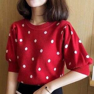 Женская футболка в горошек shintimes, Короткая свободная футболка в Корейском стиле, летний трикотажный пуловер с короткими рукавами
