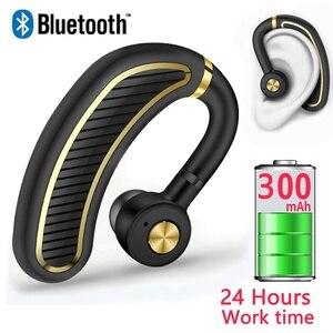 Bluetooth наушники Беспроводной ушной крючок наушники Шум снижение Бизнес гарнитуры отпечатков пальцев Touch наушники с микрофоном