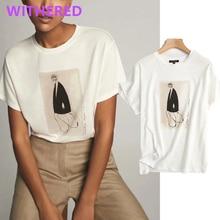 Withered Inglaterra high street vintage moda para chicas cuello redondo algodón verano camiseta mujeres harajuku camiseta camisetas verano 2020