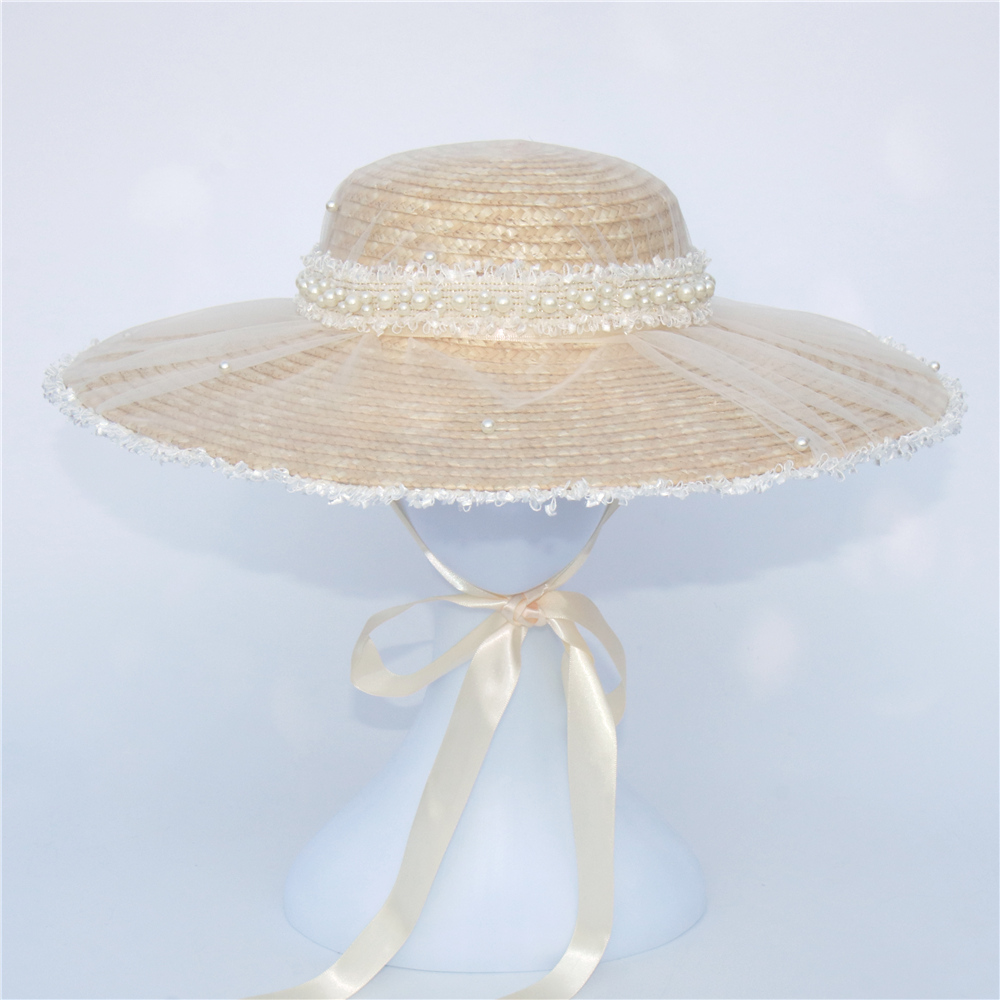 New Design Women Pearl Big Brim Visor Beach Hats With Long Ribbon Fashion Ladies Church Wedding Hat Summer Dress Caps