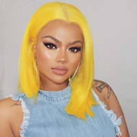 Colored Human Hair Wigs Blue Bob Lace Front Wigs Pre Plucked 613 Honey Blonde Purple Green Yellow Pink Ombre Wig Brazilian Remy