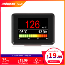 Automobile On board Computer A203 Car Digital OBD 2 Computer Display Speedometer Fuel Consumption meter Temperature Gauge OBD2