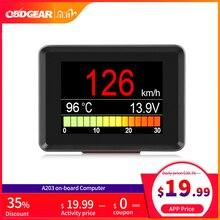 Ordenador para automóvil A203, Digital OBD 2, pantalla de ordenador, velocímetro, medidor de consumo de combustible, medidor de temperatura OBD2