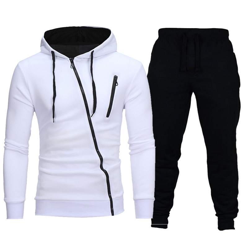 Men Casusal Fashion Zipper Sets Jacket+Pants 2Pc Tracksuit Sportwear Hoodies Sweatshirt Outdoors Gyms Suit