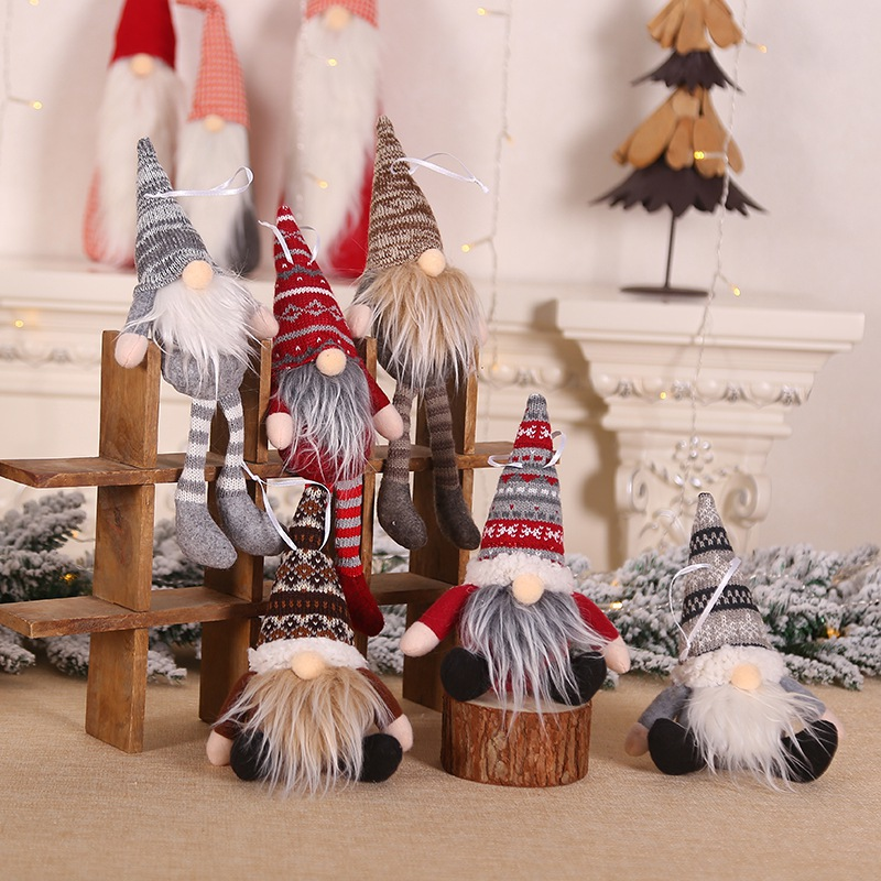 Christmas Ornament Decorations Knitted Plush Gnome Doll Christmas Tree Wall Hanging Pendant Holiday Decor Gift Accessories