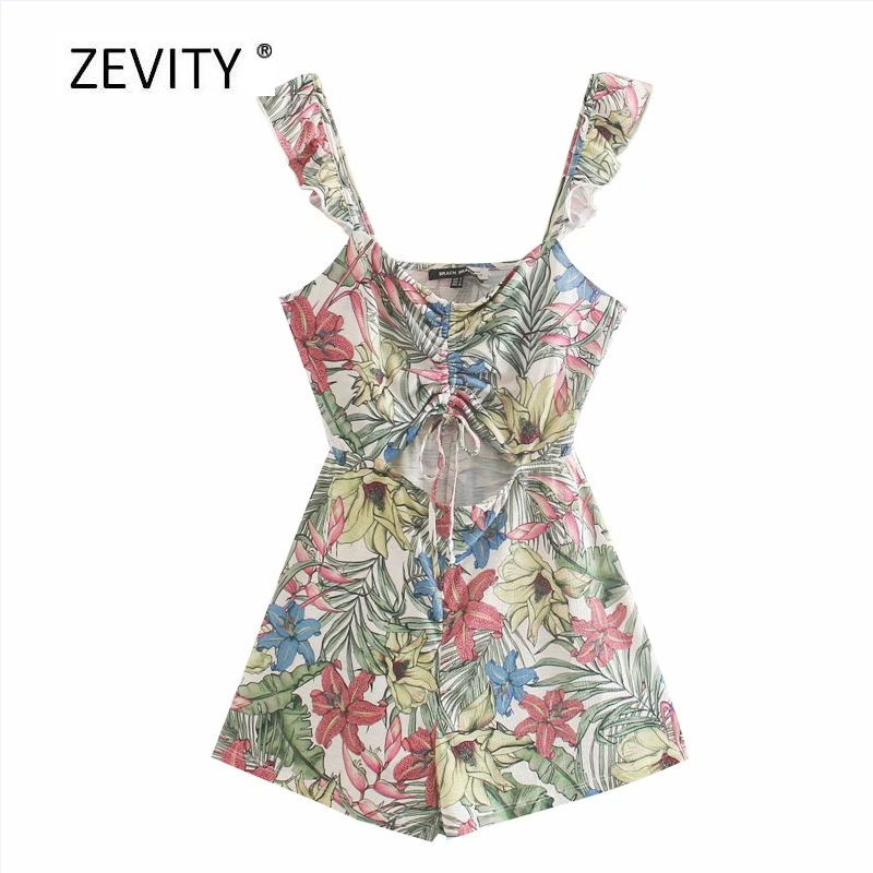New women tropical flower leaves print pleated knitting playsuits ladies ruffles cut off Conjoined shorts chic siamese DS4077