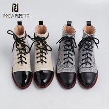 2020 outono inverno novo flat-bottom cross-laced xadrez moda botas curtas moda feminina temperamento patente couro martin botas