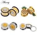 Затычки для ушей Alisouy из нержавеющей стали с ананасами и кристаллами, тонкие ювелирные украшения для пирсинга, растягивающиеся уши, 6-25 мм, 2 ш...