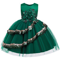 Children Kids Girl Summer Sequin Dress Teens Sleeves Flower Pearl Pattern Bow Vestido Clothes for 3 to 9 Years