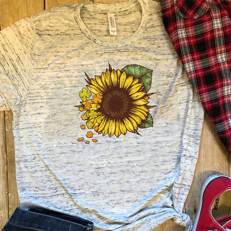 Graphic Tees T-Shirt Tops Cactus Slim-Fit Sun-Flower Wome Colored Harajuku Fashion Cute