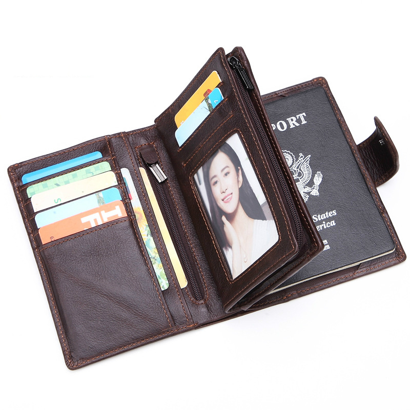 Hommes en cuir véritable porte-passeport passeport couverture portefeuille grande capacité porte-monnaie hommes organisateur portefeuilles carte passeport couverture