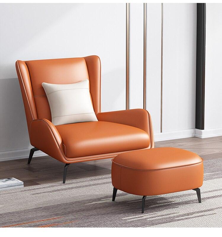 U-BEST Italian style modern living room PU leather single seater leisure sofa chair Luxury type chaise lounge