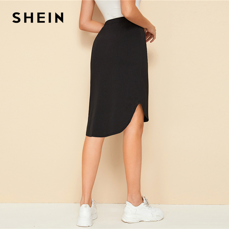SHEIN Black Solid Drawstring Front High Low Hem Skirt Womens Bottoms 2019 Autumn Ladies Asymmetrical Casual Knee Lenth Skirts 2