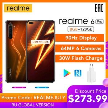 Перейти на Алиэкспресс и купить Realme 6 Pro 8 ГБ ОЗУ 128 Гб ПЗУ 6pro глобальная Версия Мобильный телефон Snapdragon 720G 30 Вт Быстрая зарядка 64 мп камера Оригинальная штепсельная вилка ЕС ...