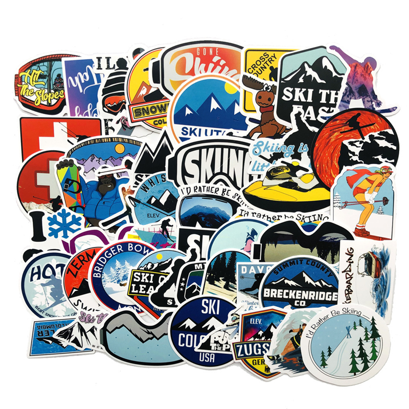 50 PCS Outdoor Adventure Winter Ski Landscape Stickers Travel Waterproof For DIY Laptop Suitcase Bicycle Helmet Car Skateboard