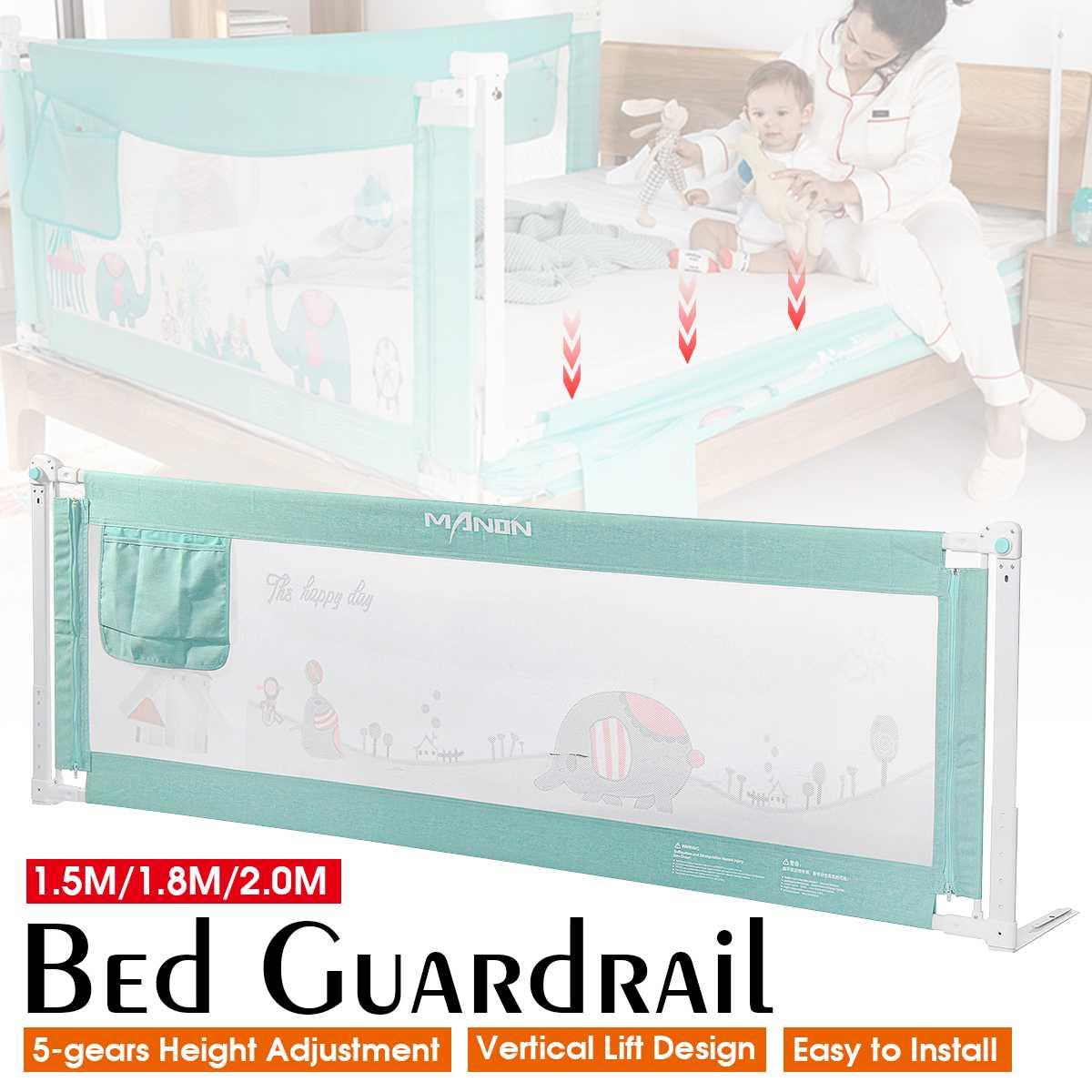 1.5m/1.8m/2m Baby Playpen Bed Fence Safety Rails For Children Infants Kids Adjustable Bedding Crib Barrier Bed Guardrail