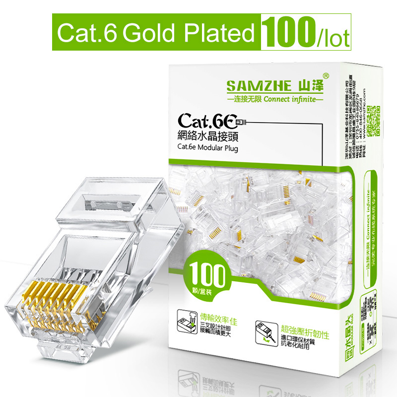 Conector modular da tomada 8p8c de samzhe cat6 rj45 para o cabo dos ethernet, conectores maiorias chapeados ouro do friso dos ethernet de 1 gbps cat 6 gigabit
