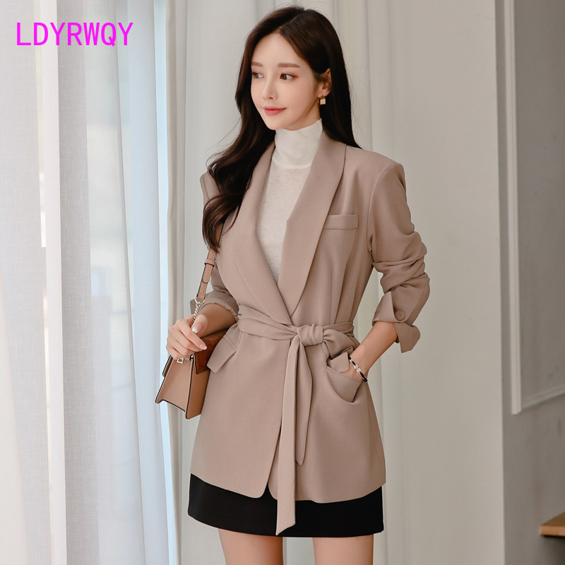 2019 autumn and winter new Korean temperament lapel long-sleeved lace long casual blazer Single Breasted