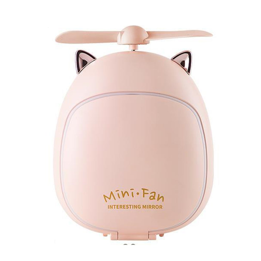 Portable Fan Creative Cartoon Beauty Makeup Mirror Lamp Fan Handheld Portable Usb Charging Small Fan Led Student Gift