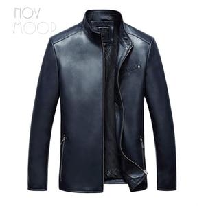 Image 2 - Vestes daffaires en cuir homme, 4 couleurs, manteau en peau de mouton véritable, chaqueta moto hombre LT047